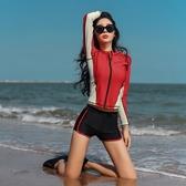 韓國潛水服女長袖游泳衣防曬分體速幹水母衣拉?浮潛服套裝 三角衣櫃