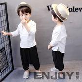 全館83折 兒童漢服男童中國風套裝夏季唐裝寶寶棉麻民族服裝夏裝古裝和尚服