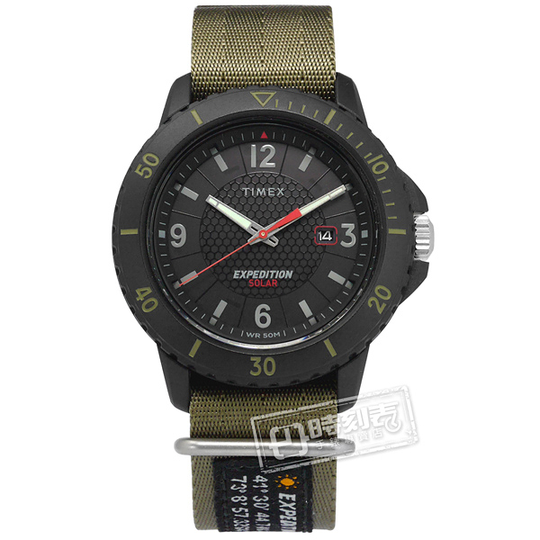 TIMEX 天美時 / TXTW4B14500 / EXPEDITION 遠征系列 太陽能電力 日期視窗 尼龍手錶 黑x軍綠 45mm