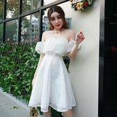 現貨出清  一字領洋裝—名媛蕾絲繡花一字肩荷葉邊飛飛袖顯瘦聚會派對溫柔風連身裙蓬蓬裙  11-29