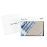 Calvin Klein 經典鐵牌LOGO防刮多卡短夾(米灰色-含帕巾)103093-3