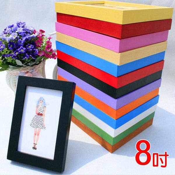 8吋壁掛式實木相框 適合6x8吋照片 多色可選 木質相框 相框牆 壁貼 照片【SB0936】Loxin