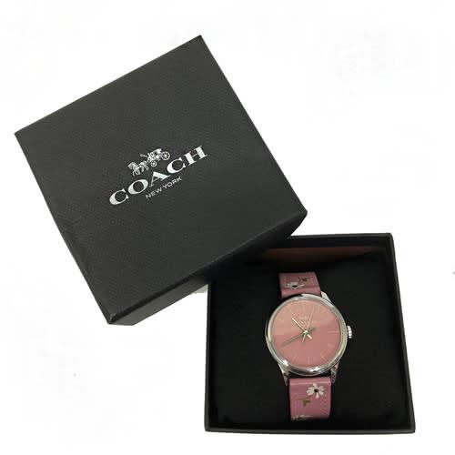 【COACH】經典馬車 LOGO花卉印花皮革錶帶石英錶女用手錶(粉)
