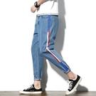 FINDSENSE H1日本 秋季 新款 潮男 側邊條紋 小腳牛仔褲 大碼 修身