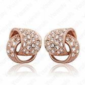 耳環 玫瑰金 925純銀鑲鑽-環環相扣生日情人節禮物女飾品73gs115【時尚巴黎】