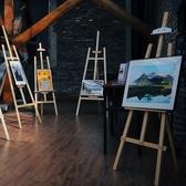 柏倫斯鬆木拋光全木質畫架支架式美術生專業便攜式伸縮畫架兒童學生繪畫油畫架