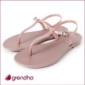 GRENDHA 極簡亮面T字帶平底涼鞋-粉玫色