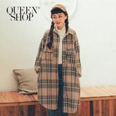 Queen Shop【02071184】毛呢杏色格紋雙口袋襯衫外套*現+預*