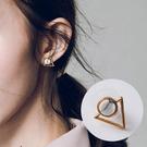 簡約圓形大理石紋拼接三角形耳環 耳釘 耳針 MSHX1303