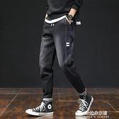 哈倫寬鬆彈力牛仔褲男士九分小腳修身潮牌韓版潮流秋季黑色長褲子