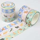 Kamio 仿刺繡紙膠帶 3入 手帳貼 裝飾貼 動物系列 小狗 藍_KM22589