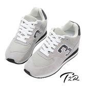 【韓國T2R】經典復刻 情侶款 8公分真皮氣墊增高鞋 ↑8cm 灰(5600-0029)
