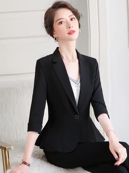 七分袖西裝外套女韓版氣質女神范荷葉邊下擺中袖職業小西服套裝潮 依凡卡時尚