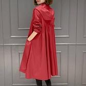 外套女 2021秋季新款中長款大碼女外套長袖寬松遮肚女風衣洋氣連帽外穿衣 霓裳細軟