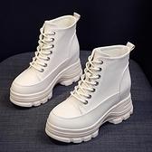 內增高馬丁靴女小個子8cm英倫風2021新款百搭春秋單靴厚底短靴子 喜迎新春