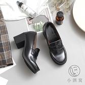 高跟皮鞋女時尚韓版百搭休閒粗跟單鞋【小酒窩服飾】