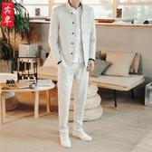 中國風男士西服套裝 立領民中山裝男裝青年唐裝中式古風仙氣漢服 麻吉好貨YYJ