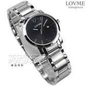 LOVME 簡約數字風格品味 藍寶石抗磨水晶玻璃 不銹鋼帶 女錶 黑色 日期顯示窗 VS3190L-2S-321