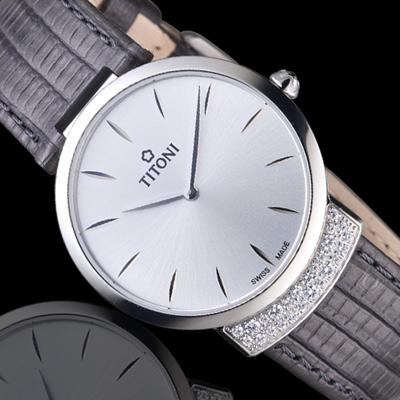 TITONI MADEMOISELLE優雅伊人系列皮革腕錶   TQ42912S-ST-590