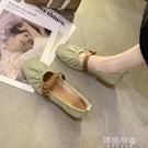 豆豆鞋 仙女風單鞋女春季新款懶人奶奶鞋中粗跟豆豆鞋淺口晚晚鞋女 阿薩布魯