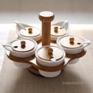 竹制陶瓷日式旋轉調味罐調味瓶廚房用品五件...