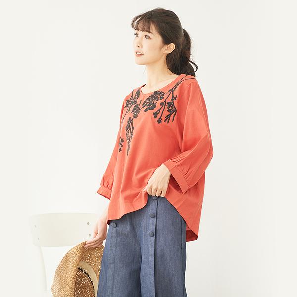 【慢。生活】文藝花草刺繡上衣 20310-9 FREE橘紅