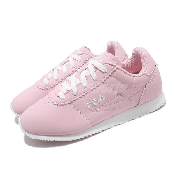 FILA 復古慢跑鞋 J903S 粉紅 白 鞋面皮革 阿甘鞋 復古 小LOGO 女鞋【ACS】 5J903S551