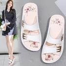 鬆糕鞋 2021新款拖鞋女夏外穿平底涼拖百搭防滑軟底真皮厚底媽媽涼鞋拖鞋