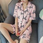 蝴蝶結睡衣女夏短袖兩件套