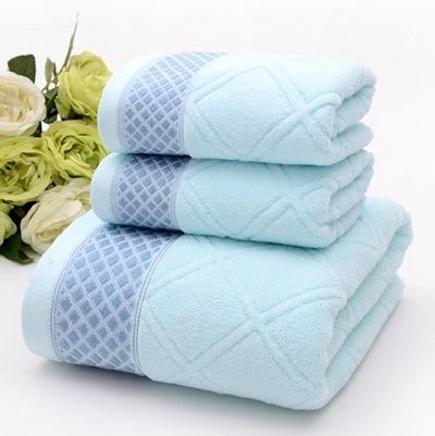 浴巾三件套含浴巾+毛巾-柔軟親膚簡約菱格純棉衛浴用品3色72t7[時尚巴黎]