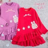 3朵小花皇冠兔下擺不規則長版上衣小洋裝(內磨毛)-2色(280390)★水娃娃時尚童裝★