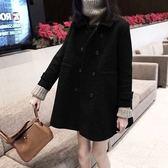 中大尺碼胖MM呢子大衣女韓版L-4XL秋冬赫本風寬松顯瘦小個子森系毛呢外套3F057.9002韓依紡