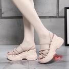 厚底楔型涼鞋 網紅涼鞋女仙女風2020夏季新款百搭女士兩穿增高厚底鬆糕鞋ins潮