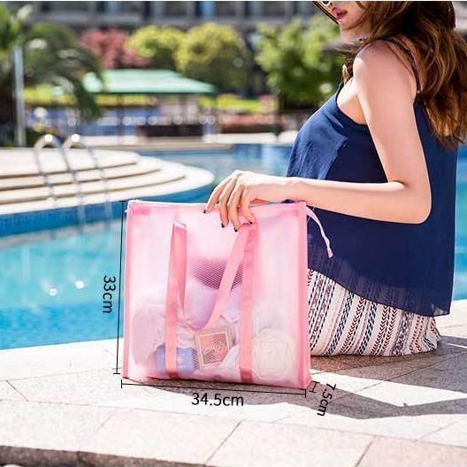 海灘包 裝游泳衣手提袋子海灘海邊塑料防水包透明便攜沙灘游泳包女果凍包 【快速出貨】