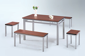 756-4 4尺胡桃檯面602餐桌(胡桃檯面板/烤銀) W120×D70×H74公分