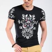 男短袖T恤 潮流上衣 韓版休閒 夏季炫酷印花修身T恤 韓版時尚短袖印花wx3433