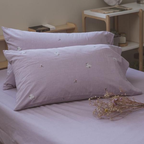 色織水洗棉 刺繡枕套 2入【多款任選】長絨棉 透氣親膚 mix&match 簡約設計 翔仔居家