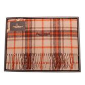 PAUL STUART 經典蘇格蘭格紋羊毛披肩(橘紅色)989907