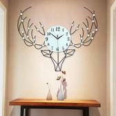 北歐個性鹿頭鐘錶掛鐘客廳現代簡約大氣創意歐式時鐘家用裝飾靜音 創想數位igo