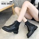 [Here Shoes] 4CM短靴 英倫風率性百搭皮革彈力針織 筒高15CM綁帶圓頭厚底靴 黑靴-KGD10