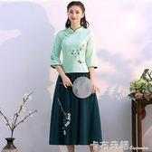 春夏新款中國風改良漢服茶服棉麻收腰刺繡T恤 半身裙兩件套裝 卡布奇諾