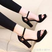 韓版高跟鞋8CM粗跟防水台露趾一字扣帶百搭黑色女涼鞋潮 格蘭小舖