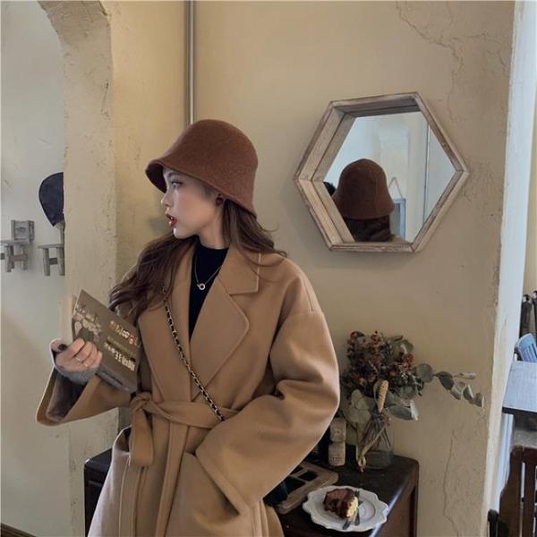 限時特銷 冬季年新款韓版百搭寬松毛呢外套中長款小個子氣質呢子大衣女