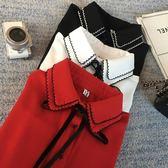 ZUCAS~(GU-1129)紅色花邊領蝴蝶結綁帶長袖白襯衫裝雪紡黑白撞色