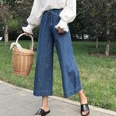 大碼顯瘦牛仔九分褲女寬鬆休閒闊腿褲百搭鬆緊腰學生七分褲  極有家