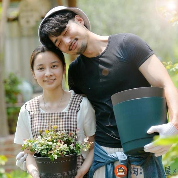 創意環保直筒樹脂仿陶瓷圓形花盆陽臺綠蘿塑料花盆帶托盤【淘夢屋】