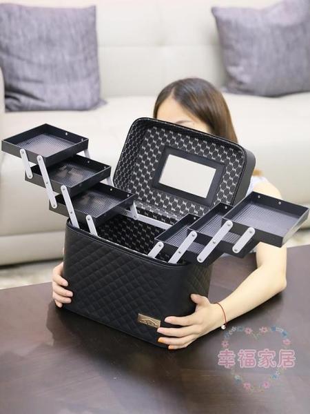 大容量正韓化妝包女多功能層小號網紅便攜手提化妝品收納盒簡約箱化妝箱