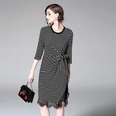 洋裝-七分袖圓領條紋拼接蕾絲女連身裙73of122【巴黎精品】