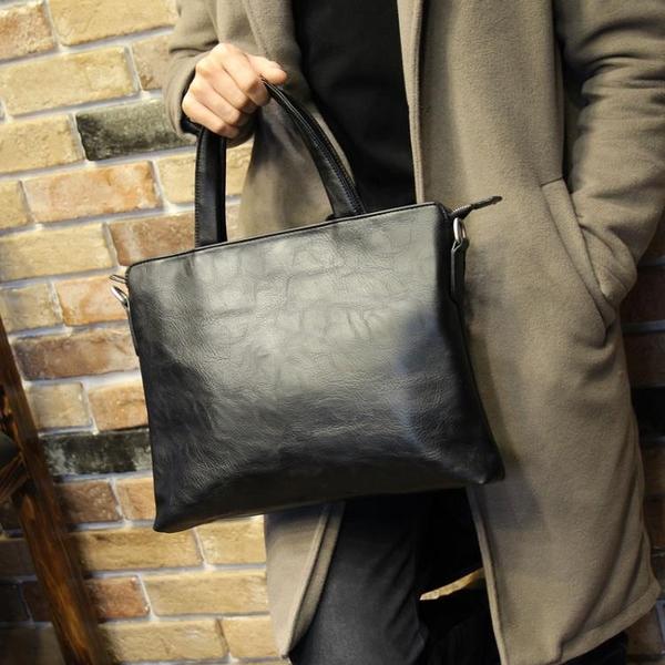 男包 新款潮流公文包男士包商務手提包橫款單肩包斜挎休閒背包 快速出貨
