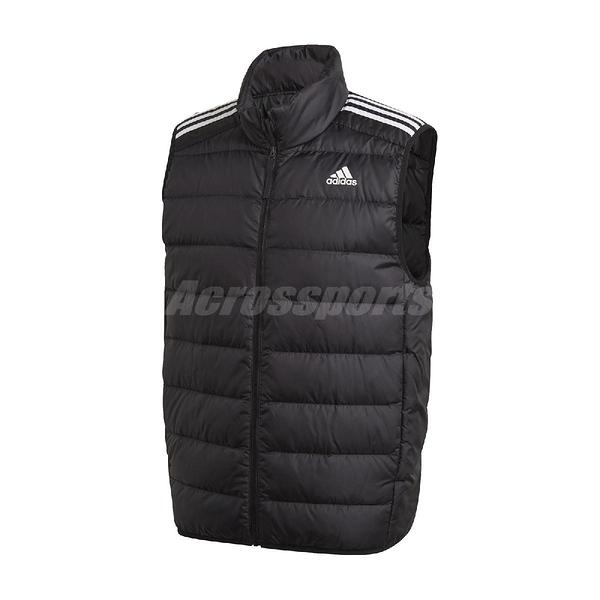 adidas 背心 Essentials Down Vest 黑 白 男款 保暖 羽絨 運動休閒 【ACS】 GH4583